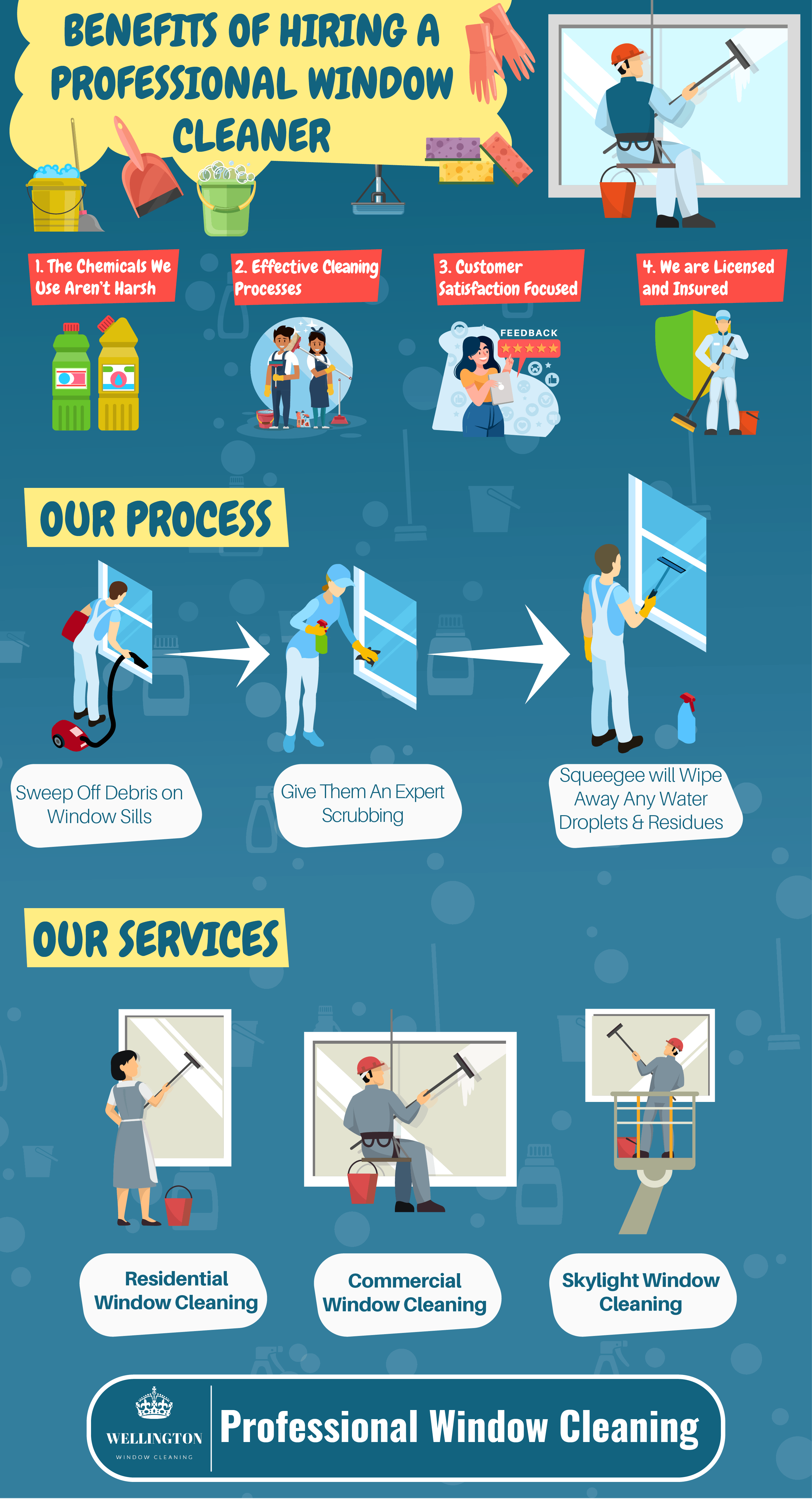 image of infographic showcasing the benefits of hiring a professional window washer